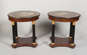 PAIR OF EMPIRE STYLE MAHOGANY, EBONIZED AND PARCEL-GILT GUÉRIDONS