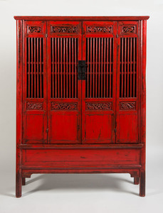 CHINESE RED PAINTED WOOD CABINET