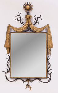 BLACK PAINTED AND GILT-METAL MIRROR, AFTER A MODEL BY GILBERT POILLERAT