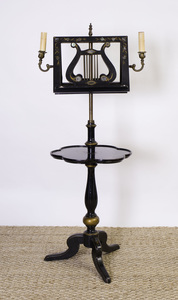 VICTORIAN STYLE EBONIZED AND PARCEL-GILT MUSIC STAND