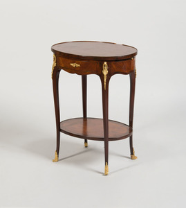 LOUIS XV/XVI STYLE GILT-BRONZE-MOUNTED KINGWOOD AND TULIPWOOD PARQUETRY TABLE À ÉCRIRE