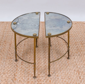 TWO GILT-METAL AND MIRRORED SIDE TABLES