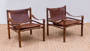 PAIR OF ARNE NORELL ROSEWOOD AND LEATHER 'SAFARI' CHAIRS