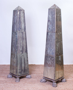PAIR OF ETCHED MIRRORED OBELISKS ON PAINTED WOOD STANDS