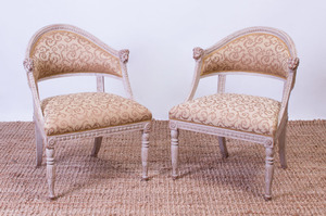 PAIR OF SWEDISH NEOCLASSICAL STYLE PAINTED SPOON-BACK CHAIRS