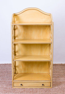 GEORGE III STYLE YELLOW PAINTED WOOD BOOKSHELF