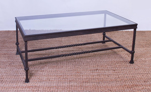 WROUGHT-IRON AND GLASS LOW TABLE