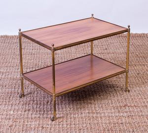 BRASS-MOUNTED-ROSEWOOD TWO-TIERED SIDE TABLE