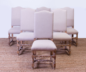 SET OF SIX BAROQUE-STYLE PICKLED AND STAINED PINE SIDE CHAIRS