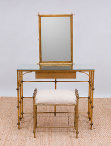 GILT-METAL DRESSING TABLE AND MATCHING STOOL
