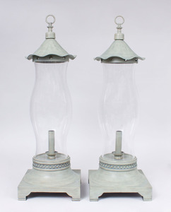 PAIR OF TALL GREY PAINTED METAL PHOTOPHORES