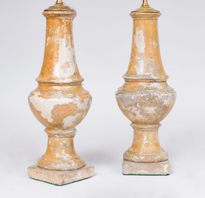 PAIR OF FRENCH PAINTED COMPOSITION BALUSTER-FORM LAMPS