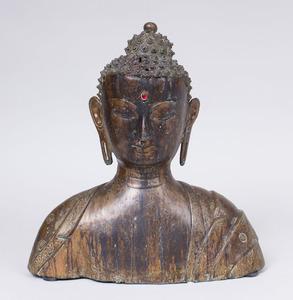 ASIAN BRONZE BUST OF BUDDHA