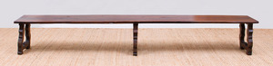 LONG CONTINENTAL BAROQUE STYLE STAINED WALNUT BENCH
