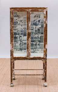 DISTRESSED PAINTED METAL AND GLASS MEDICINE CABINET