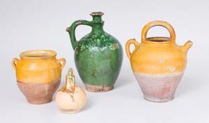 GROUP OF FOUR FRENCH RUSTIC POTTERY VESSELS