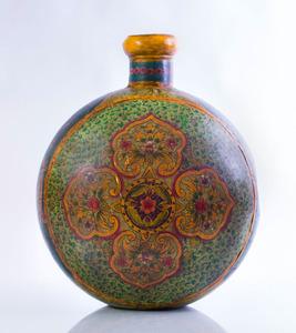 LARGE PERSIAN PAINTED METAL VESSEL