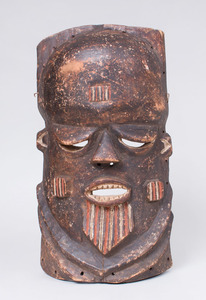 AFRICAN CARVED AND PAINTED MALE MASK