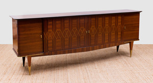 FRENCH ART DECO BRASS-MOUNTED AND INLAID ROSEWOOD SIDEBOARD