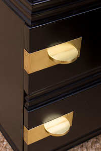 PAIR OF BRASS-MOUNTED EBONIZED SIDE CABINETS