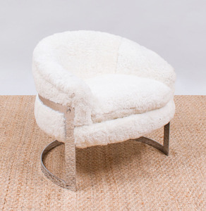 MILO BAUGHMAN SHEARLING AND CHROME TUB CHAIR