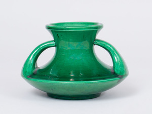 GREEN GLAZED PORCELAIN VASE WITH HANDLES