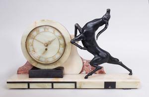 ART DECO BRONZE, MARBLE AND HARDSTONE MANTEL CLOCK