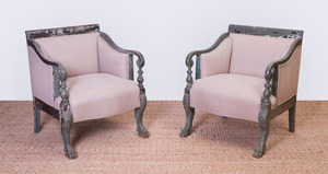 PAIR OF AMERICAN COLONIAL REVIVAL GREEN PAINTED ARMCHAIRS