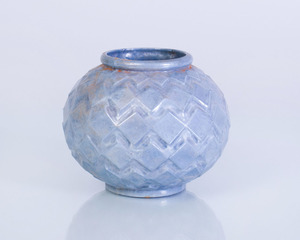 BLUE ENAMELED AND PAINTED CAST-IRON VASE