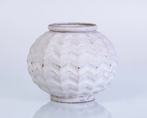 WHITE ENAMELED AND PAINTED CAST-IRON VASE