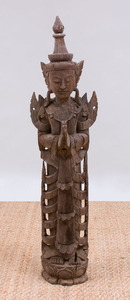 THAI CARVED WOOD STANDING FIGURE