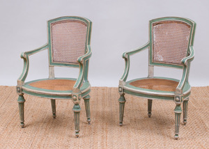 PAIR OF ITALIAN NEOCLASSICAL STYLE PAINTED AND CANED ARMCHAIRS