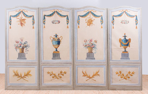 CONTINENTAL PAINTED WOOD AND CANVAS FOUR-PANEL SCREEN