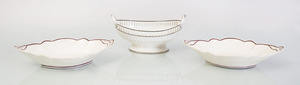 WEDGWOOD CREAMWARE TWO-HANDLED FRUIT COMPOTE AND A PAIR OF CREAMWARE NAVETTE-FORM DISHES