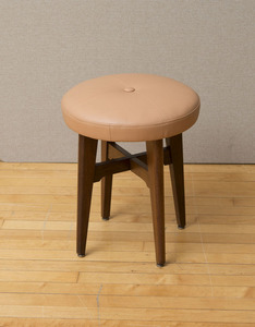 PEACH LEATHER AND WALNUT VANITY STOOL