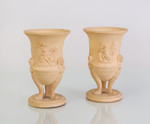 PAIR OF ENGLISH DRABWARE URNS