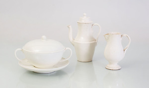 WEDGWOOD CREAMWARE TWO-HANDLED SOUP BOWL, COVER AND STAND, A SMALL COFFEE POT AND COVER, AND A CREAMER