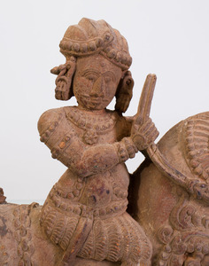 INDIAN HARDWOOD MODEL OF A MYTHICAL BEAST AND RIDER