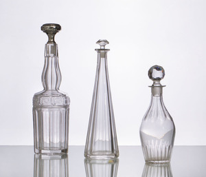 MURANO GLASS CANDY DISH AND THREE GLASS DECANTERS WITH STOPPERS