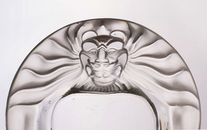 LALIQUE GLASS CIGARETTE URN AND MATCHING GLASS ASHTRAY
