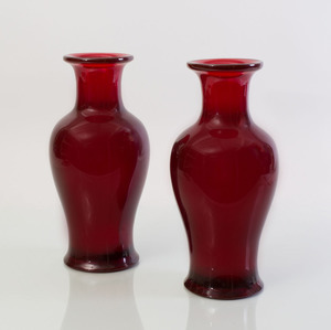 PAIR OF RED LUCITE BALUSTER-FORM VASES