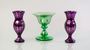 PAIR OF VARNISH & CO. AMETHYST MERCURY GLASS VASES AND AN ALETHOMS & SONS PATENT GREEN MERCURY GLASS STEMMED COMPOTE