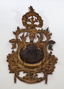 SPANISH GILTWOOD AND EBONIZED PLAQUE