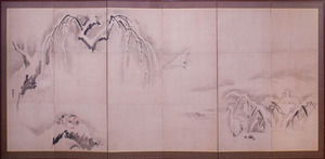 JAPANESE SIX-PANEL SCREEN DECORATED WITH BIRDS IN LANDSCAPE