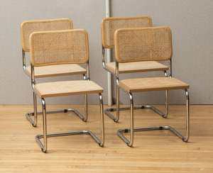 SET OF FOUR MARCEL BREUER CHROME AND CANED CHAIRS