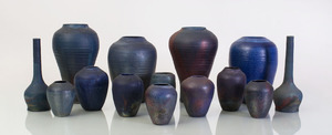 COLLECTION OF FOURTEEN RAKU AND GLAZED POTTERY VASES