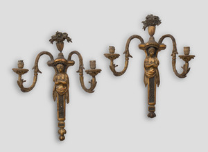 PAIR OF LOUIS XVI STYLE GILTWOOD TWO-LIGHT WALL SCONCES