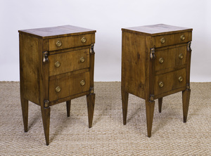 PAIR OF ITALIAN NEOCLASSICAL BRASS-MOUNTED AND PARCEL-GILT WALNUT SIDE TABLES