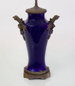 LOUIS XVI STYLE BRONZE-MOUNTED COBALT GLAZED VASE MOUNTED AS LAMP