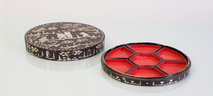 TWO CHINESE MOTHER-OF-PEARL INLAID LACQUER BOXES